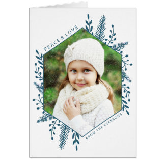 Winter Foliage Photo Holiday Greeting Card | Teal