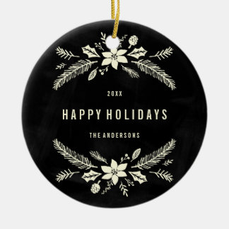 Winter Foliage Round | Holiday Ornament