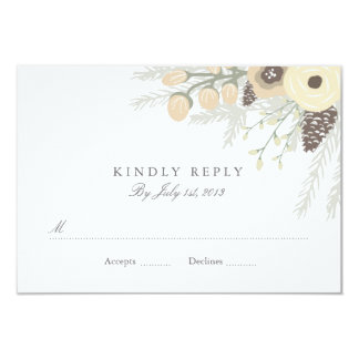 Winter Foliage Wedding RSVP Personalized Invites