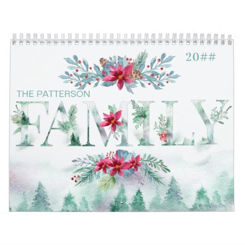 Winter Forest 2 Photos per Month Family 2021 Calendar