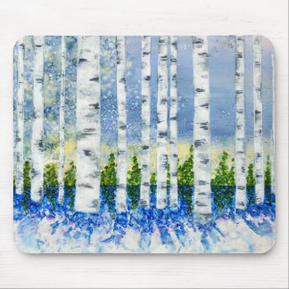 Winter Forest - Alcohol Ink and Encaustic Mouse Pad