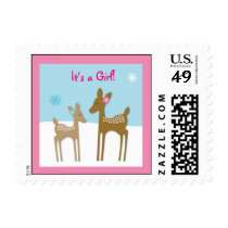Winter Forest Animal Deer Girl Postage Stamps