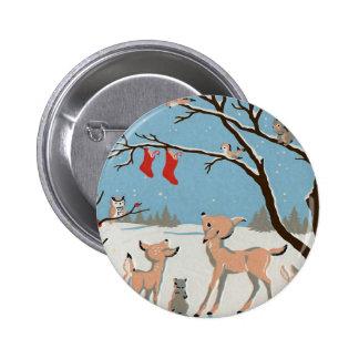 Winter Forest Animals Button