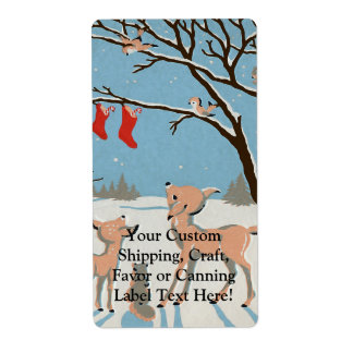 Winter Forest Animals Label