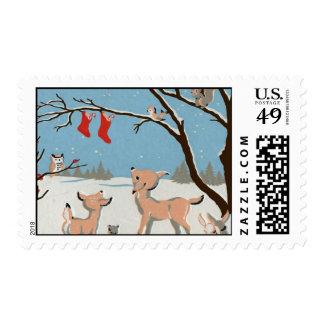 Winter Forest Animals Stamp