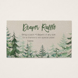 Winter Forest Baby Shower - Diaper Raffle Card