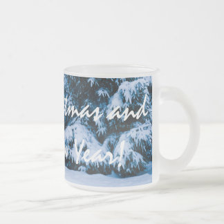 Winter Forest Christmas Tree Frosted Glass Coffee Mug