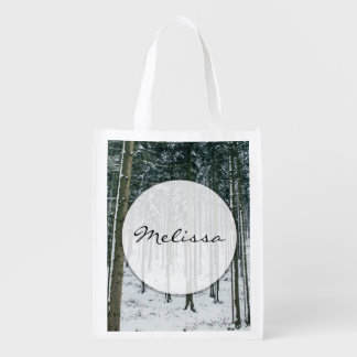 Winter Forest Landscape Snow Covered Trees Grocery Bag