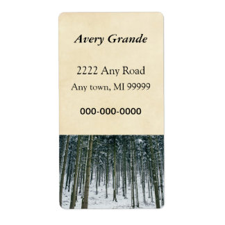 Winter Forest Landscape Snow Covered Trees Label