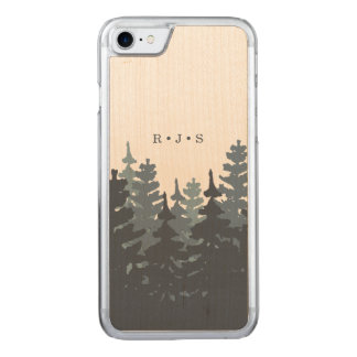 Winter Forest Monogrammed Carved iPhone 7 Case