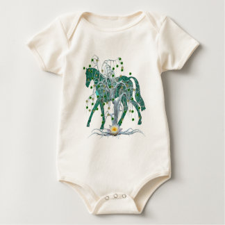 Winter Forest New Year Horse Baby Bodysuit