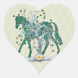 Winter Forest New Year Horse Heart Sticker