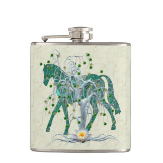 Winter Forest New Year Horse Hip Flask