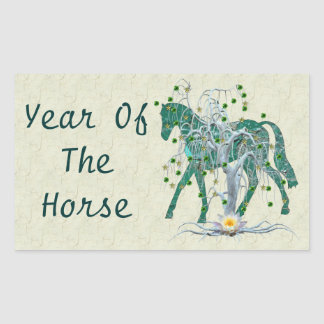 Winter Forest New Year Horse Rectangle Sticker