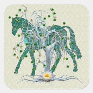 Winter Forest New Year Horse Sticker