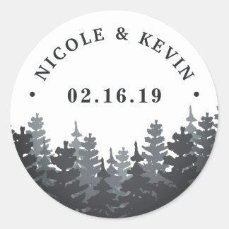 Winter Forest | Personalized Wedding Classic Round Sticker