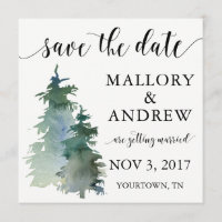 Winter Forest Pine Tree Save the Date