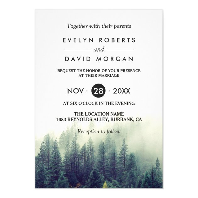 Winter Forest Pine Trees Elegant Chic Wedding Card