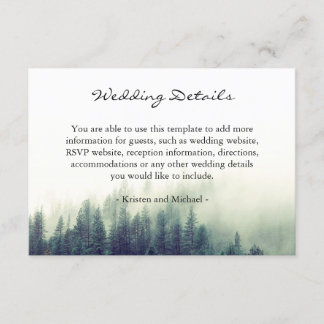 Winter Forest Pine Trees Wedding Details Reception Enclosure Card
