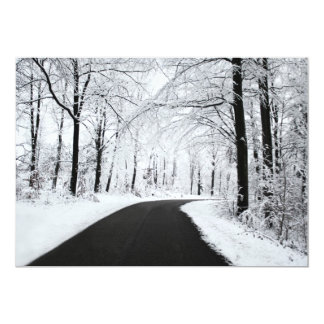 Winter Forest Road 5x7 Paper Invitation Card