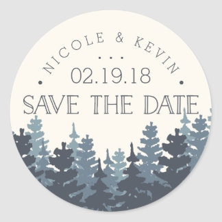 Winter Forest Save the Date Classic Round Sticker