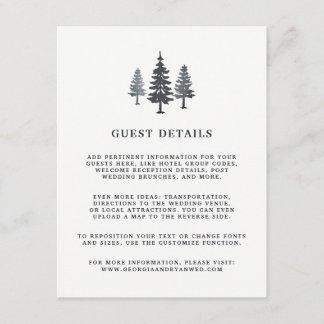 Winter Forest Wedding Guest Details Card