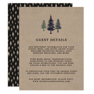 Winter Forest Wedding Guest Details Card