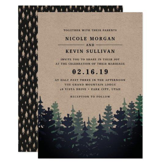 Forest Themed Wedding Invitations: Winter Forest Wedding Invitation
