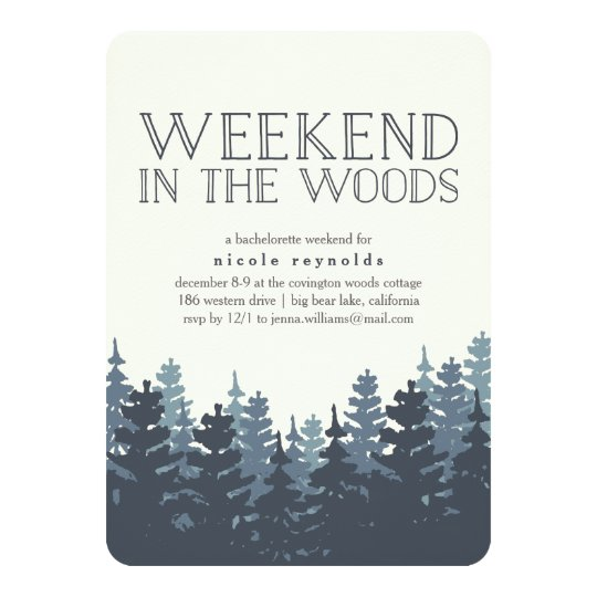 Winter Forest Weekend Getaway Invitation Zazzlecom