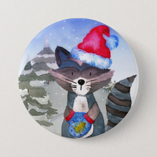 Winter Forest Woodland Friends Racoon Illustration Button