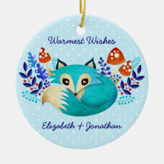 Winter Fox Ceramic Ornament