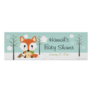 WINTER FOX IN DIAPERS BABY SHOWER BANNER POSTER