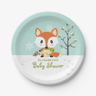Winter Fox in Diapers Baby Shower Paper Plate