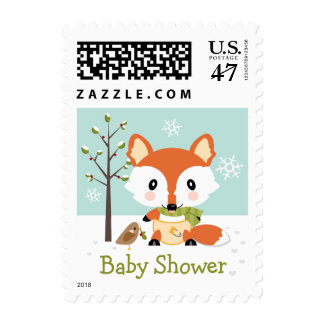 Winter Fox in Diapers Baby Shower Postage