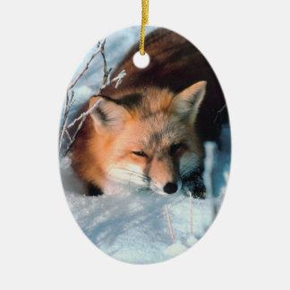 Winter Fox Wildlife Photo Christmas Ornament