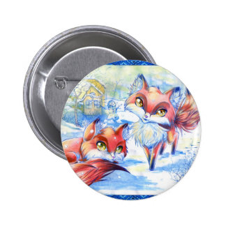 Winter Foxes Pinback Buttons