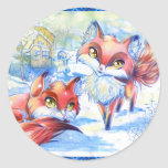 Winter Foxes Classic Round Sticker