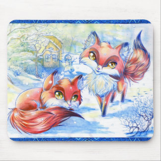 Winter Foxes Mouse Pad