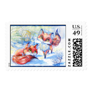 Winter Foxes Stamp
