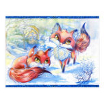 Winter Foxes Postcard