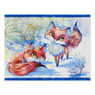 Winter Foxes Poster
