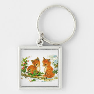 Winter Foxes Silver-Colored Square Keychain