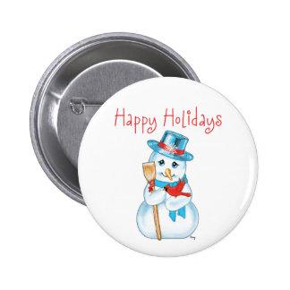 Winter Friends Adorable Snowman and Cardinal Pinback Button