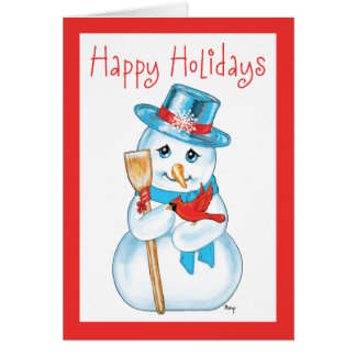 Winter Friends Adorable Snowman and Cardinal Cards