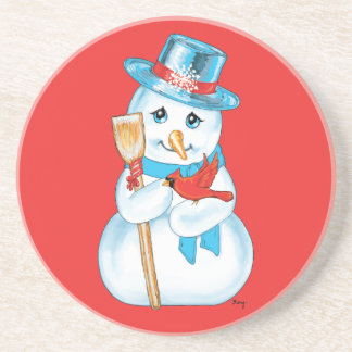 Winter Friends Adorable Snowman and Cardinal Drink Coaster