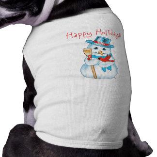 Winter Friends Adorable Snowman and Cardinal Doggie T-shirt