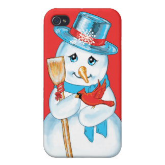 Winter Friends Adorable Snowman and Cardinal iPhone 4/4S Cases