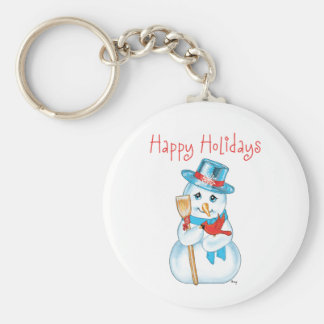 Winter Friends Adorable Snowman and Cardinal Keychain