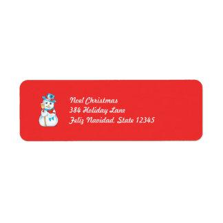 Winter Friends Adorable Snowman and Cardinal Custom Return Address Labels