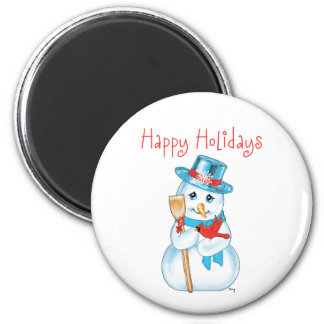Winter Friends Adorable Snowman and Cardinal Refrigerator Magnets